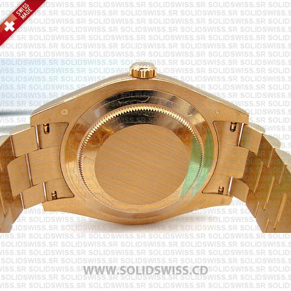 Rolex Day-Date II Yellow Gold Diamond Dial Fluted Bezel