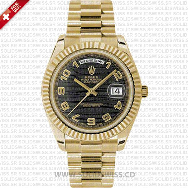 Rolex Day-Date II Gold Wave Dial 41mm | Solidswiss Watch