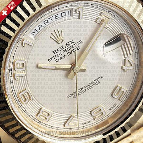 Rolex Day-Date II Yellow Gold White Arabic Dial Watch
