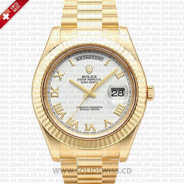 Rolex Day-Date II Gold White Roman Dial   Rolex Replica Watch