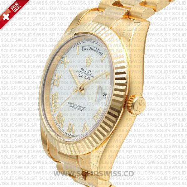 Rolex Day-Date II Gold White Roman Dial 41mm