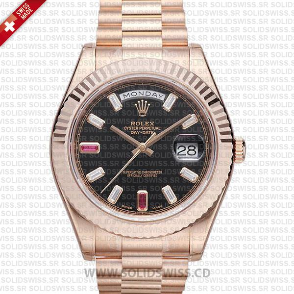 Rolex Day-Date II Rose Gold Black Ruby Dial | Replica Watch