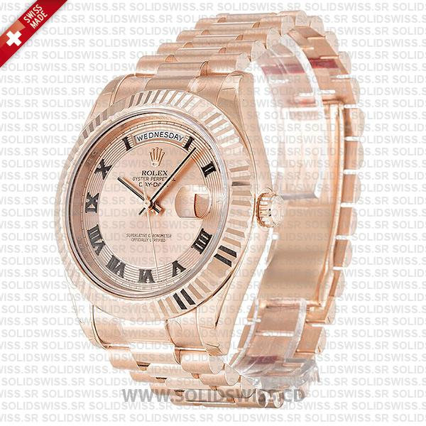 Rolex Day-Date Rose Gold Gold Roman