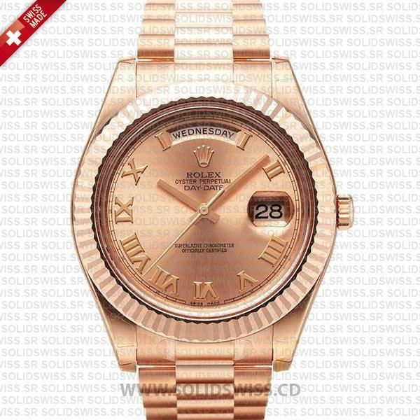 Rolex Day-Date II Rose Gold Roman Dial | Luxury Replica Watch