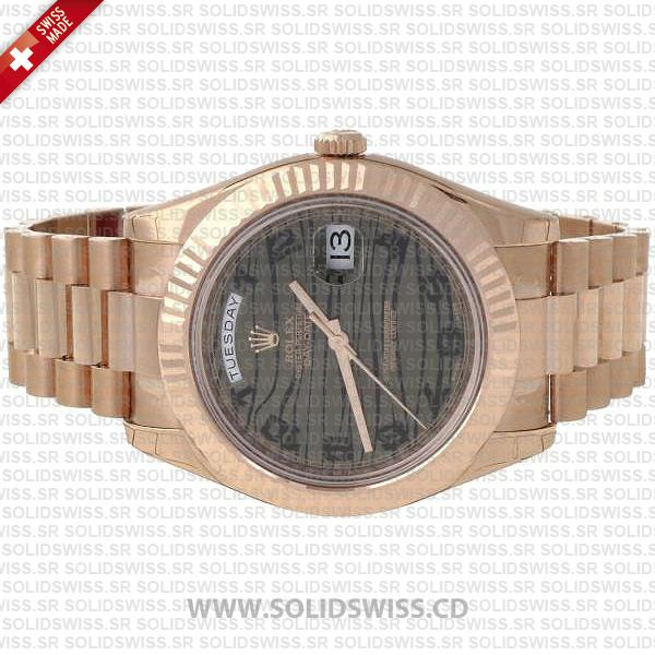 Rolex Day-Date II Rose Gold Tiger Wave Dial Watch