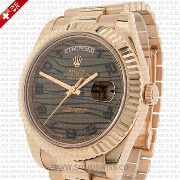 Rolex Day-Date II Rose Gold Tiger Wave Dial Replica Watch