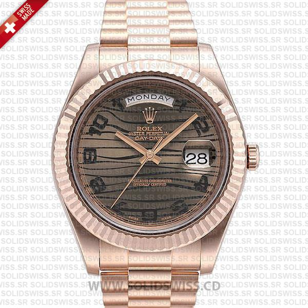 Rolex Day-Date II Rose Gold Tiger Wave Dial   Solidswiss Watch