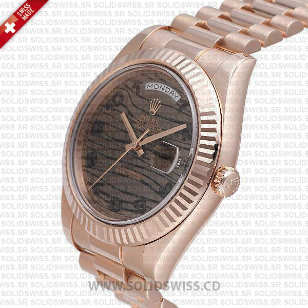 Rolex Day-Date II Rose Gold Tiger Wave Dial