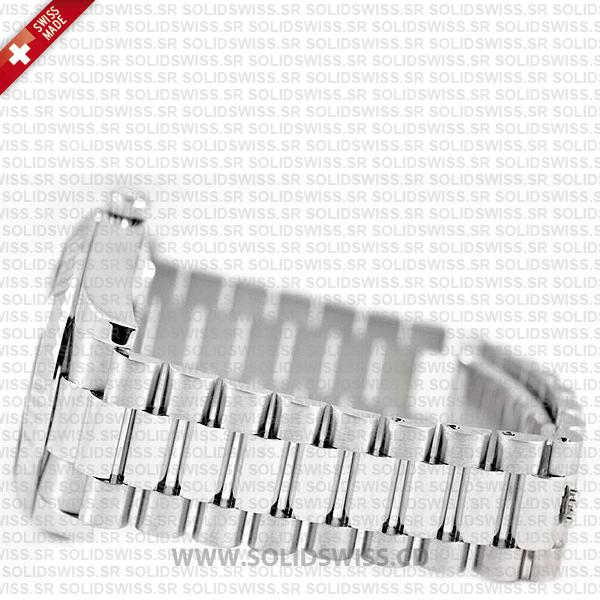 Rolex Day-Date II 18k White Gold Silver Diamond Dial