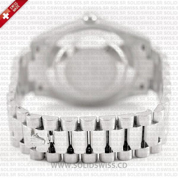 Rolex Day-Date II 18k White Gold Silver Diamond Dial 41mm