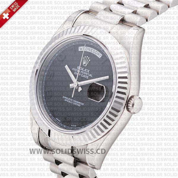 Rolex Day-Date II White Gold Black Arabic Dial Replica