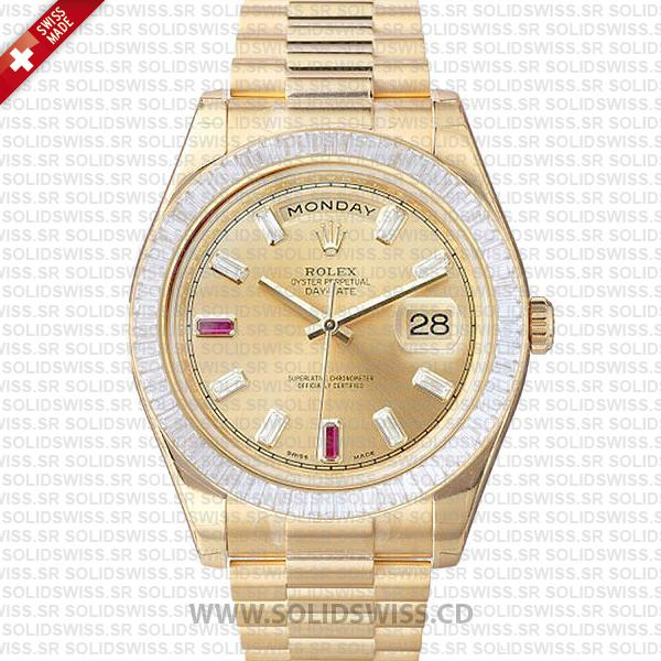 Rolex Day-Date II Gold Ruby Diamond Dial | Swiss Clone Watch