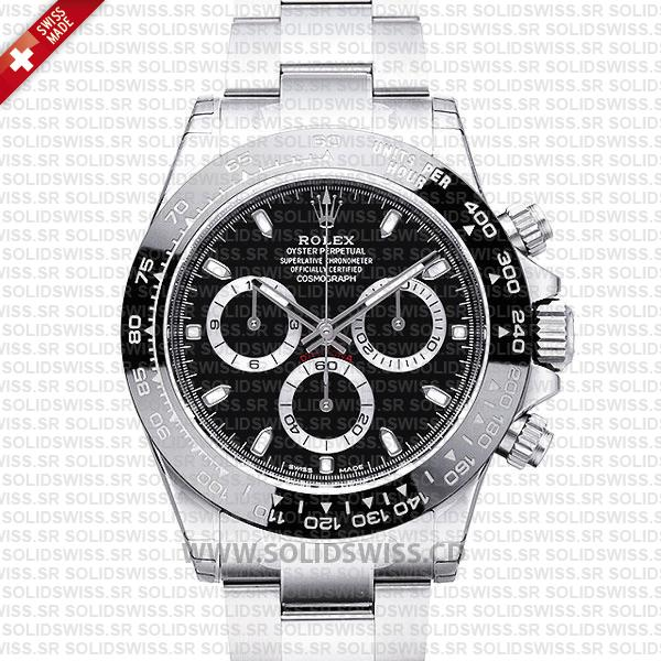 ROLEX 2016 DAYTONA SS BLACK CERAMIC BEZEL 116520 40mm Solidswiss.cd Replica