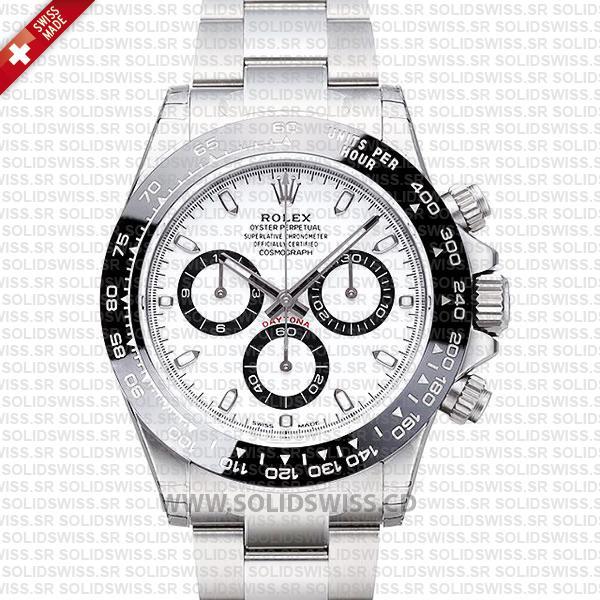 ROLEX 2016 DAYTONA SS WHITE CERAMIC BEZEL 116520 40mm Solidswiss.cd Replica