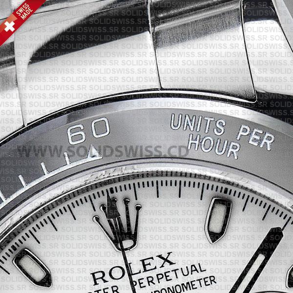 ROLEX 2016 DAYTONA SS WHITE CERAMIC BEZEL 116520 40mm Solidswiss.cd Replica
