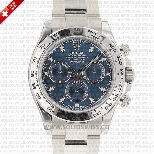 Rolex Daytona 2016 White Gold Blue Solidswiss cd Swiss Replica