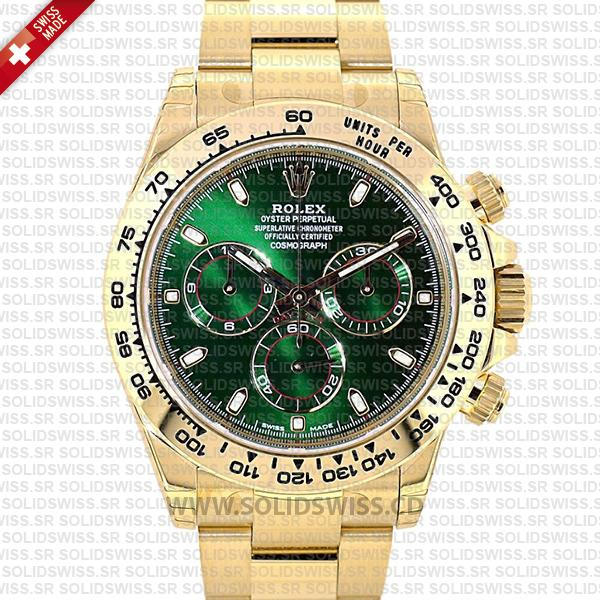 Rolex Daytona 2016 Yellow Gold Green Dial | Replica Watch