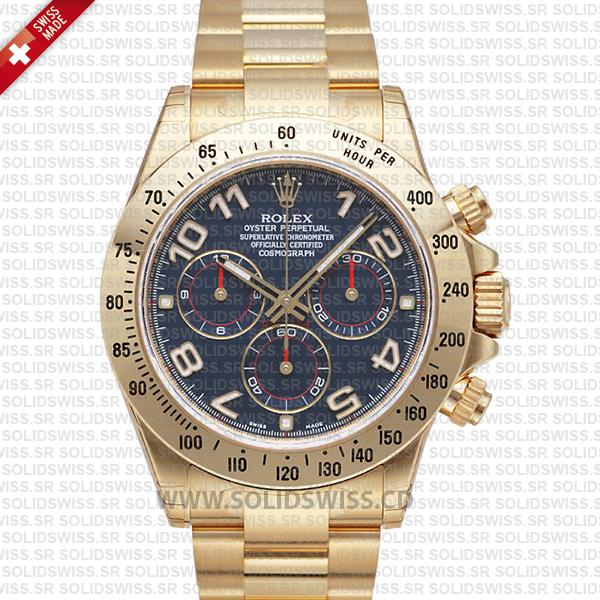 Rolex Daytona Gold Blue Arabic 40mm Swiss Replica