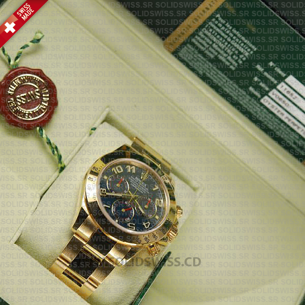 Rolex Daytona Gold Blue Arabic 40mm Swiss Replica