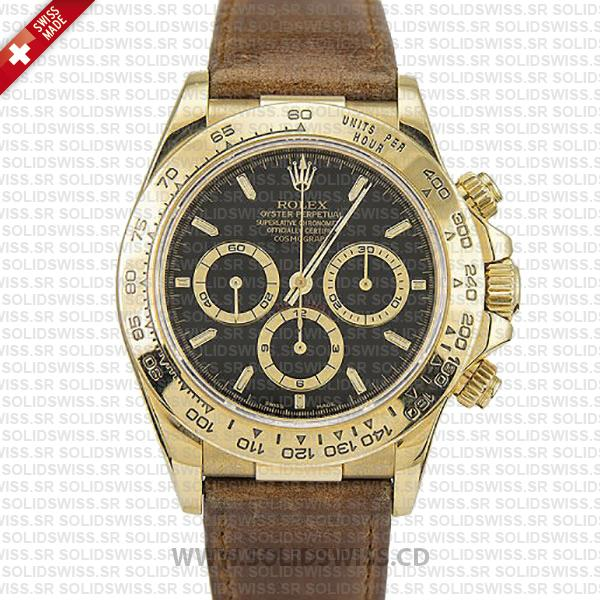 Rolex Daytona 40mm Gold Black Dial | Swiss Replica Watch
