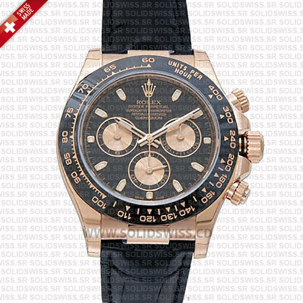 Rolex Daytona Rose Gold Black Dial Ceramic Bezel | Solidswiss