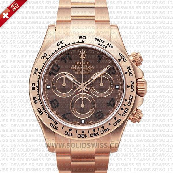 Rolex Cosmograph Daytona Chocolate Dial 18k Everose Gold Swiss Replica