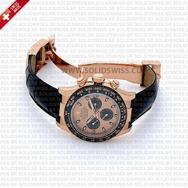 Rolex Daytona Leather Rose Gold Gold Ceramic Solidswiss Replica
