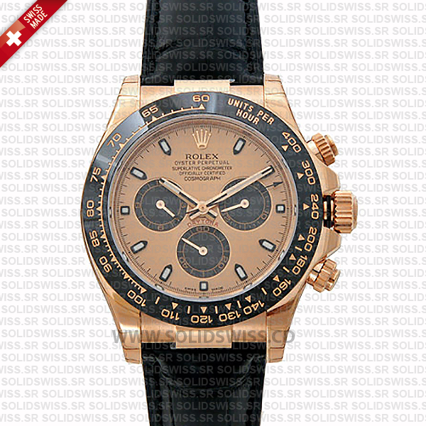 Rolex Daytona Rose Gold Leather Strap | Rolex Replica Watch