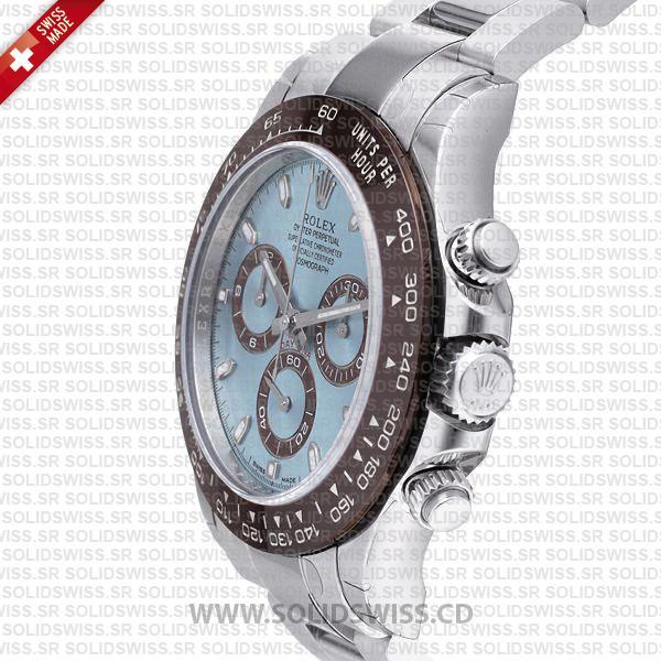Rolex Daytona Platinum Ice Blue Dial 40mm Brown Ceramic Bezel