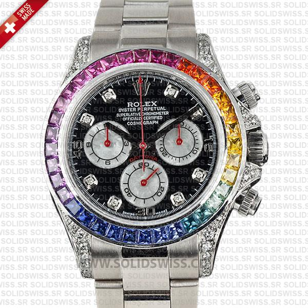 Rolex Daytona White Gold Rainbow Swiss Replica