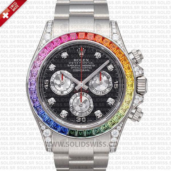 Rolex Daytona White Gold Black Diamond Dial Rainbow Bezel