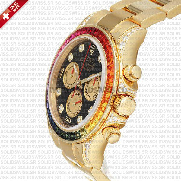 Rolex Daytona Yellow Gold Rainbow Swiss Replica