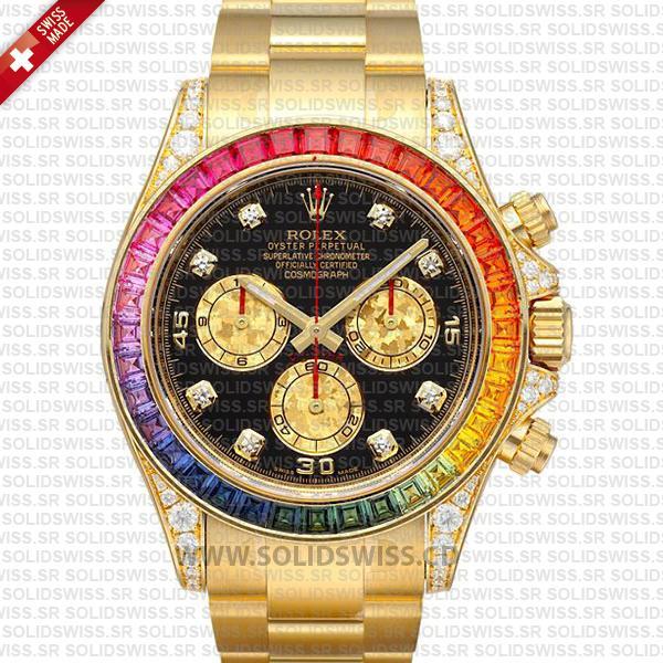 Rolex Daytona Yellow Gold Rainbow Bezel | Black Dial Watch