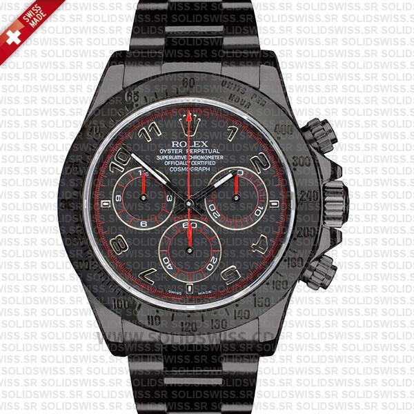 Rolex Daytona Stainless Steel DLC Black Dial Replica Watch