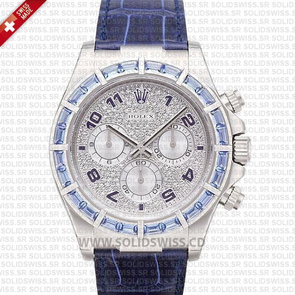 Rolex Daytona White Gold Blue Diamonds 40mm