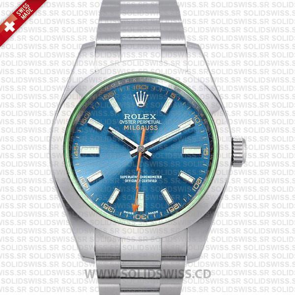 Rolex Milgauss Blue Dial 40mm Watch | Solidswiss Replica