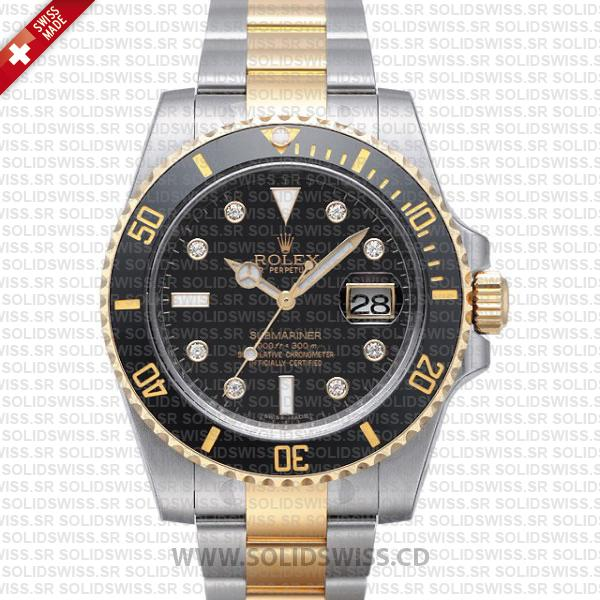 Rolex Submariner 2-Tone Black Diamonds Ceramic