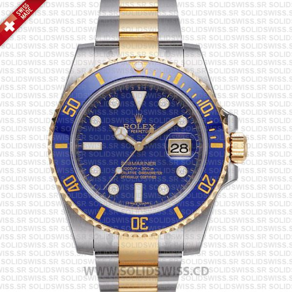 Rolex Submariner 2-Tone Blue Diamonds Ceramic