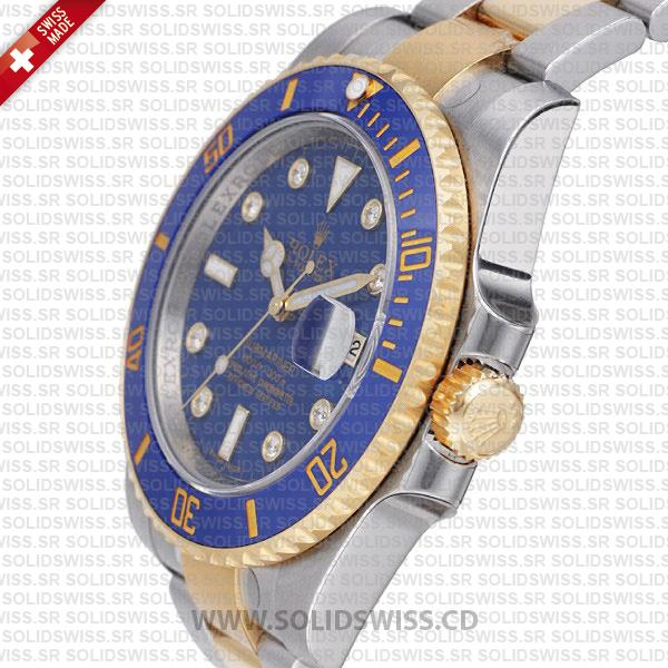 Rolex Submariner 18k Yellow Gold 2 Tone Blue Dial