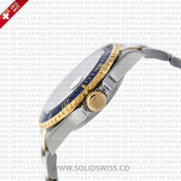 Rolex Submariner Gold Face 2-Tone Serti Dial   Swiss Replica Watch