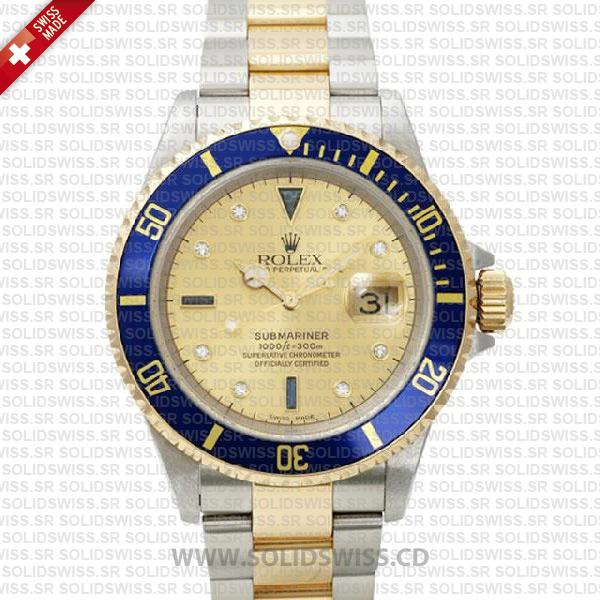Rolex Submariner Gold Face 2-Tone Serti Dial | Swiss Replica