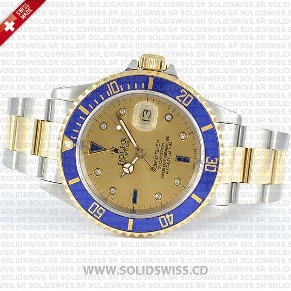 Rolex Submariner 2-Tone Serti Gold Face