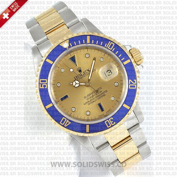Rolex Submariner Gold Face 2-Tone Serti Dial 40mm