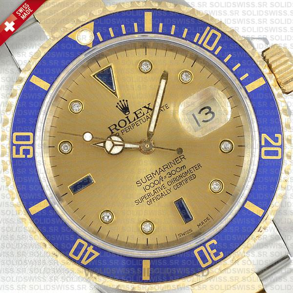 Rolex Submariner Serti Gold Face Dial 2-Tone 18k Yellow Gold