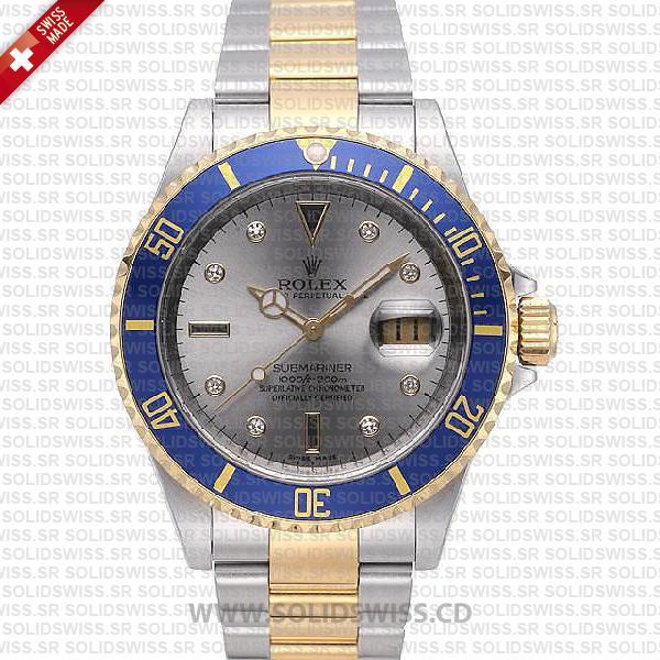 Rolex Submariner Serti Dial 2-Tone   Silver Face Replica Watch