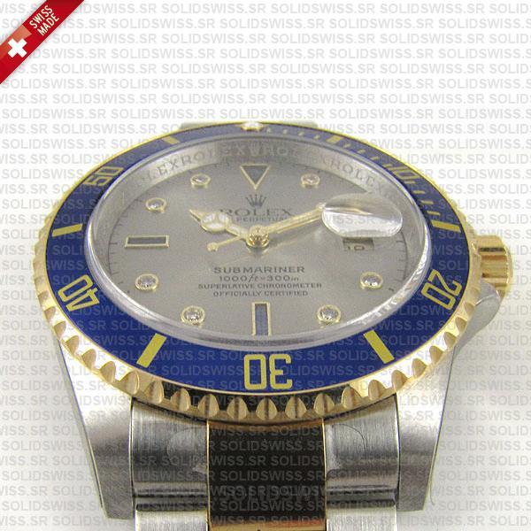 Rolex Submariner Serti Dial 2-Tone Blue Bezel