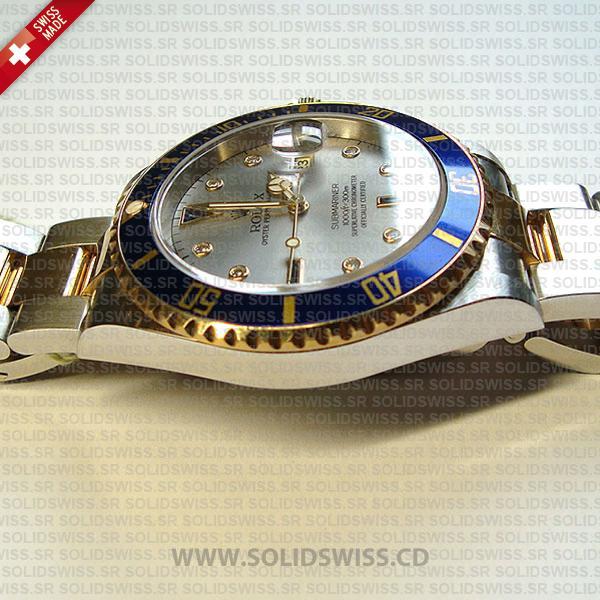 Rolex Submariner Serti Dial 2-Tone 40mm   Silver Face Replica Watch
