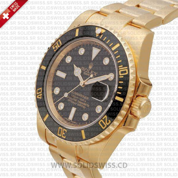 Rolex Submariner Gold Diamonds Black Ceramic