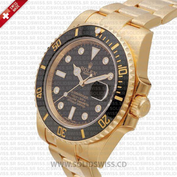 Rolex Submariner Date Watch 18k Yellow Gold Black Ceramic