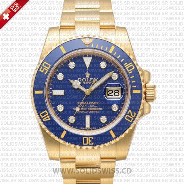 Rolex Submariner Yellow Gold Blue Diamonds | Solidswiss
